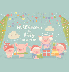 Funnycartoon pigs with christmas gifts merry vector
