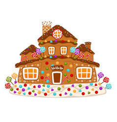 Gingerbread house cookie sweet decorated dessert vector