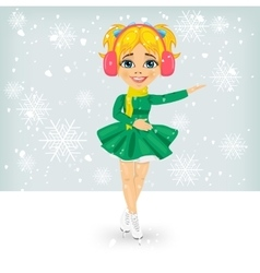 Girl in winter coat skating on the ice rink vector