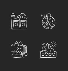 Global warming chalk white icons set on black vector