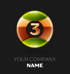 golden number three logo symbol in the circle vector image
