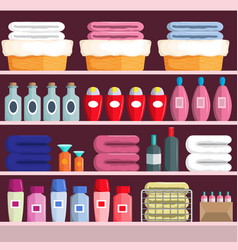 Goods on supermarket shelves vector