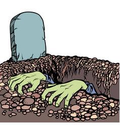 Grave a zombie dead man hands vector