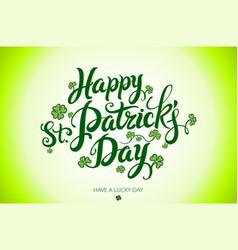 green happy saint patricks day design lettering vector image