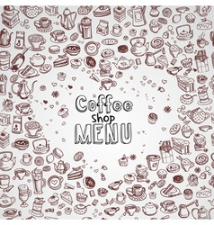 hand drawn coffee background vector image