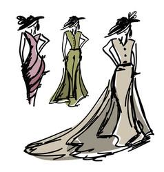 hand-drawn fashion design vector image