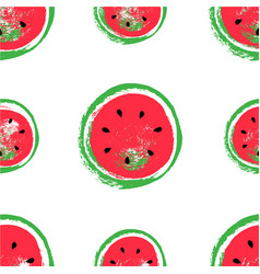 hand drawn watermelon pattern isolated on white vector image