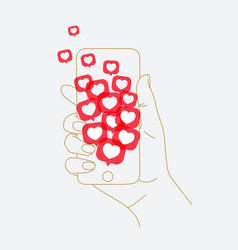 hand phone social like vector image