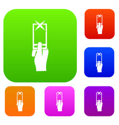 Hand photographs on smartphone set collection vector