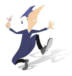 Happy adult student or professor in mortarboard wi vector