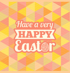 happy easter headline with geometric background vector image vector image