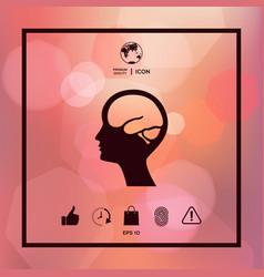 Head with brain symbol icon vector