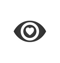 Heart in the eye symbol icon isolated on white vector