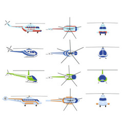 helicopter aircraft vehicles avia transportation vector image