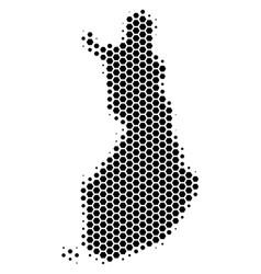 Hexagon halftone finland map vector