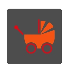 Infant Carriage Rounded Square Button vector