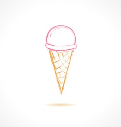 Ink pink ice cream icon vector