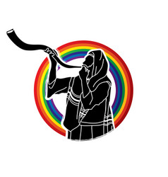 Jew blowing the shofar kudu big horn vector
