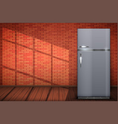 laundry room of brick wall and washing machine vector image