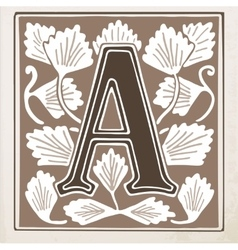 Letter A with leaves and frame vector