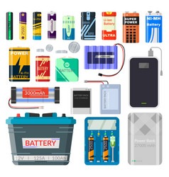 lithium batteries set vector image