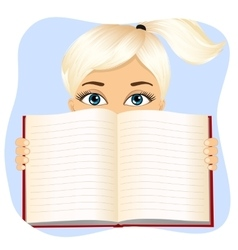 Little girl holding a book wide open vector
