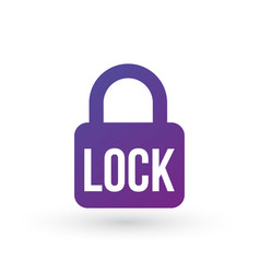 lock icon lock word secure concept isolated on vector image