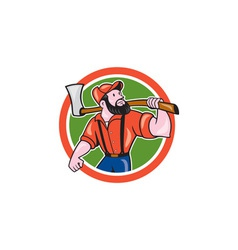 LumberJack Holding Axe Circle Cartoon vector image