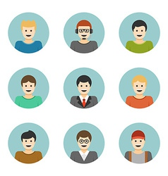 Man Characters Faces Avatars User Profile Cartoon vector