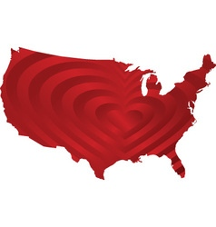 map usa with heart inside vector image