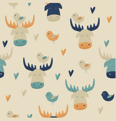 Moose seamless pattern vector