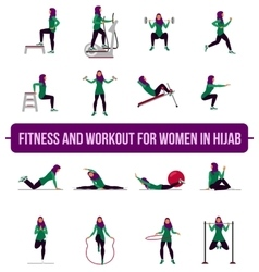 Muslim aerobic icons 4x4 full color vector