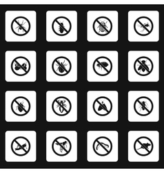 No insects sign icons set simple style vector image