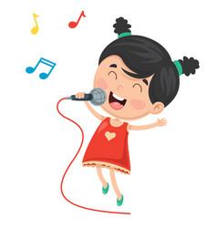 Of kid singing vector