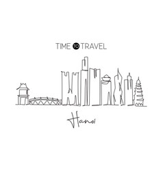 one continuous line drawing hanoi city skyline vector image
