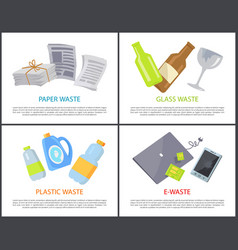 Paper glass plastic and e-waste set of banners vector