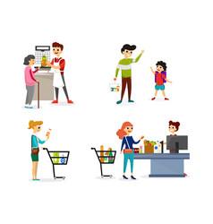 people in market set vector image