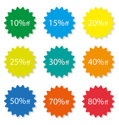 percentage off sale labels different color stylish vector image