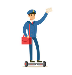 postman in blue uniform on gyro scooter delivering vector image