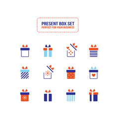 present gift box icon christmas new year set vector image