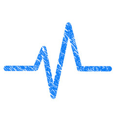 Pulse curve grunge icon vector