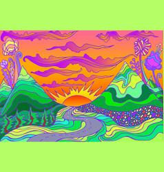 Retro hippie style psychedelic landscape vector