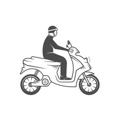 Retro man on scooter vector