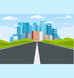 Road way to city buildings on horizon vector