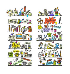 school of drawing icons set for your design vector image