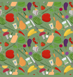 Seamless 9 pattern of flat style vegetables and vector
