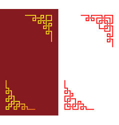 set chinese corner in linear style art vector image