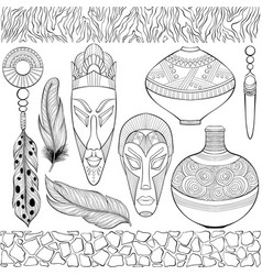 Set different african ethnic objects vector