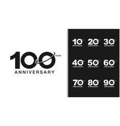 Set of anniversary logotype modern anniversary vector