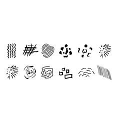 set of black hand drawn various shapes curls vector image